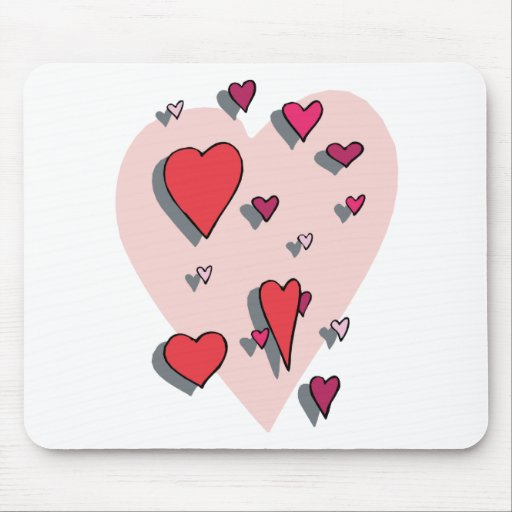 Ducha de corazones rojos tapete de ratón