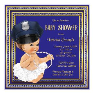 """Ducha de la niña del oficial de policía invitación 5.25"""" x 5.25"""""""