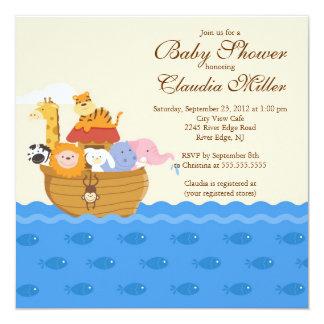 """Ducha de la niña o del bebé de la arca de s de invitación 5.25"""" x 5.25"""""""