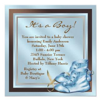 """Ducha del bebé de Brown azul de los zapatos de Invitación 5.25"""" X 5.25"""""""