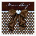 Ducha del bebé de Brown de azules cielos Invitación Personalizada