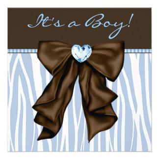 Ducha del bebé de Brown de la cebra de los azules Invitación Personalizada