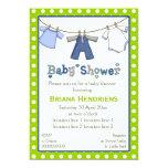 Ducha del bebé de la cuerda para tender la ropa invitación 12,7 x 17,8 cm