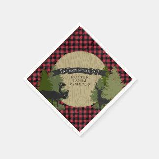 Ducha del bebé de la tela escocesa del leñador de servilleta de papel