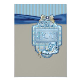 """Ducha del bebé de los botines de Brown azul Invitación 5"""" X 7"""""""