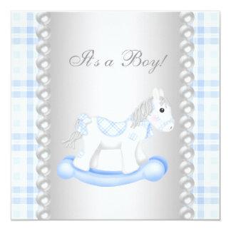 "Ducha del bebé del caballo mecedora de la guinga invitación 5.25"" x 5.25"""
