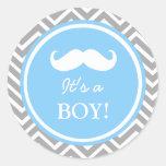 Ducha del bebé del galón del bigote pegatina redonda