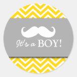 Ducha del bebé del galón del bigote etiqueta redonda