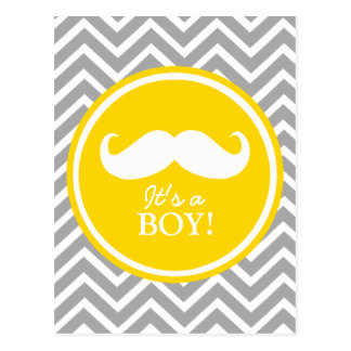 Ducha del bebé del galón del bigote tarjeta postal