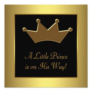 """Ducha del bebé del Príncipe heredero del oro Invitación 5.25"""" X 5.25"""""""