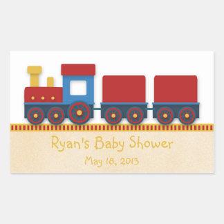 Ducha del bebé: Tren del amarillo, rojo y azul Pegatina Rectangular