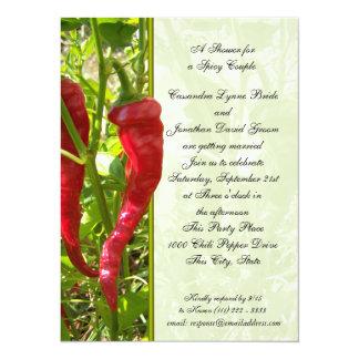 Ducha del boda de la pimienta de chile invitación 13,9 x 19,0 cm