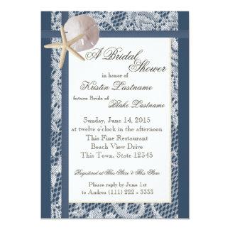 Ducha del boda de los azules marinos del tema del invitación 12,7 x 17,8 cm