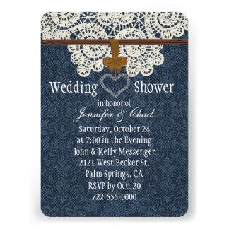 Ducha del boda del cordón del dril de algodón y de invitación personalizada