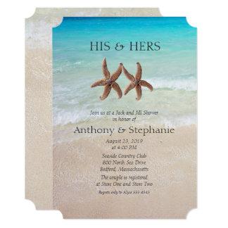 """Ducha del boda del par del mar y de la arena invitación 5"""" x 7"""""""