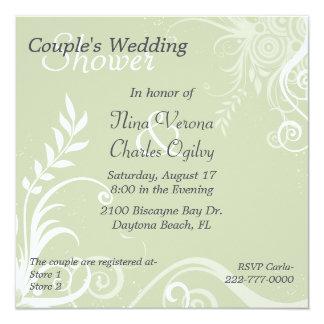 """Ducha del boda del par verde y blanco del Flourish Invitación 5.25"""" X 5.25"""""""