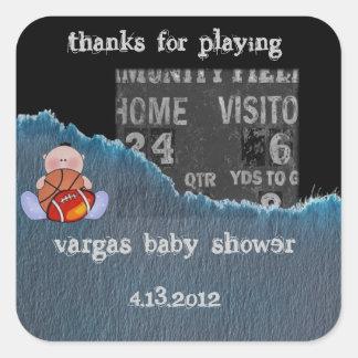 ducha del Muchacho-bebé Calcomanía Cuadrada
