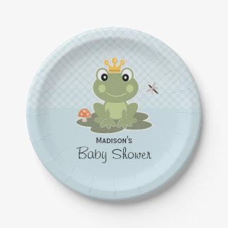 Ducha del príncipe bebé de la rana platos de papel