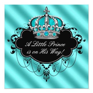 Ducha del príncipe bebé del damasco del negro azul