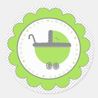 Ducha del Punto-Bebé de la polca de la verde lima Etiquetas Redondas