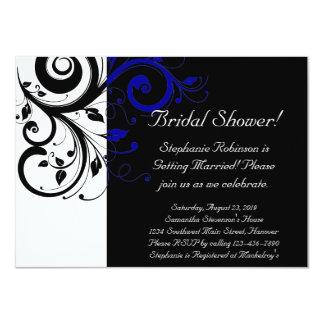Ducha del remolino negro, blanco, azul/general invitación 11,4 x 15,8 cm