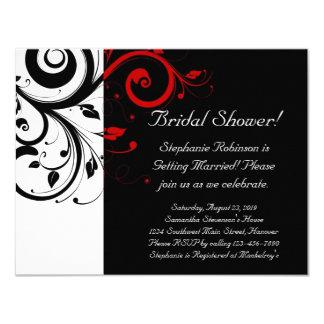 Ducha del remolino negro, blanco, rojo/general invitación 10,8 x 13,9 cm