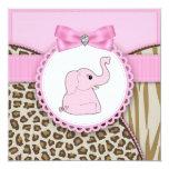 Ducha elegante de la niña del elefante rosado comunicados personales
