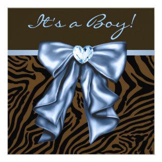 Ducha elegante del bebé de la cebra de los azules invitacion personalizada