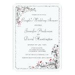 Ducha elegante del boda del par floral de los invitación 12,7 x 17,8 cm