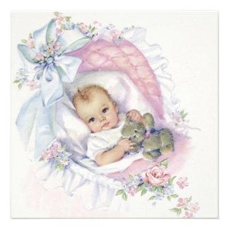Ducha en colores pastel rosada de la niña del vint invitación personalizada