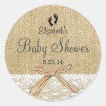 Ducha-Favor del bebé de la imagen de la arpillera Etiqueta Redonda