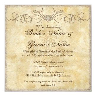 Ducha floral de los pares de los remolinos del invitaciones personalizada