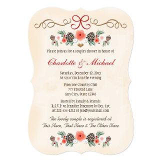 """Ducha floral de los pares del navidad de Pinecone Invitación 5"""" X 7"""""""