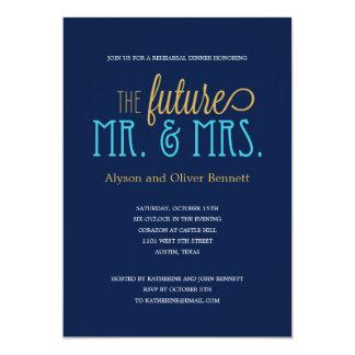 Ducha futura de Sr. y de señora Rehearsal Dinner Invitación Personalizada