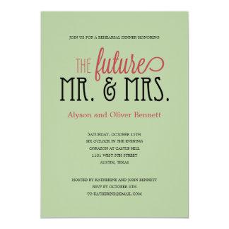 Ducha futura de Sr. y de señora Rehearsal Dinner Invitaciones Personales