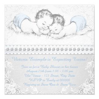 Ducha gemela del bebé invitación 13,3 cm x 13,3cm