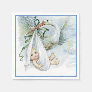 Ducha hermosa del bebé de la cigüeña del vintage servilletas de papel