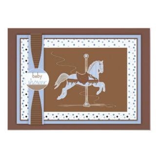 Ducha Inviation del bebé del caballo del carrusel Invitaciones Personalizada