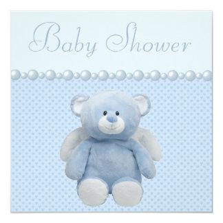 """Ducha linda del bebé del oso de peluche del ángel invitación 5.25"""" x 5.25"""""""