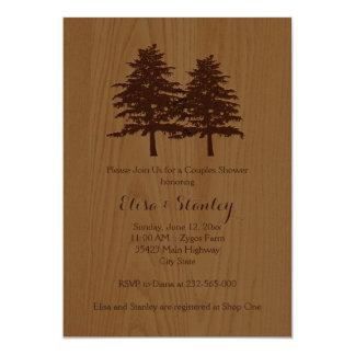 Ducha marrón de los pares de madera y del boda del invitación 12,7 x 17,8 cm