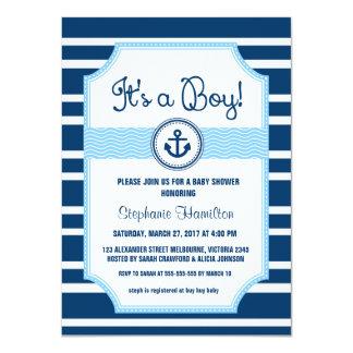 Ducha náutica del bebé del ancla de la nave invitación 11,4 x 15,8 cm