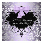 Ducha negra púrpura de plata de la princesa niña invitación 13,3 cm x 13,3cm