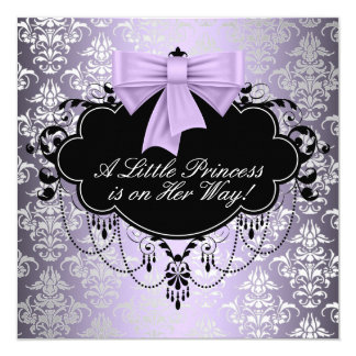 Ducha negra púrpura de plata de la princesa niña invitacion personal