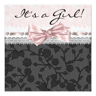 "Ducha negra rosada de la niña del negro del rosa invitación 5.25"" x 5.25"""