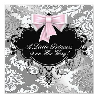 """Ducha negra rosada de plata de la princesa niña invitación 5.25"""" x 5.25"""""""