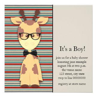 Ducha Nerdy linda del bebé de la jirafa del friki Invitación Personalizada