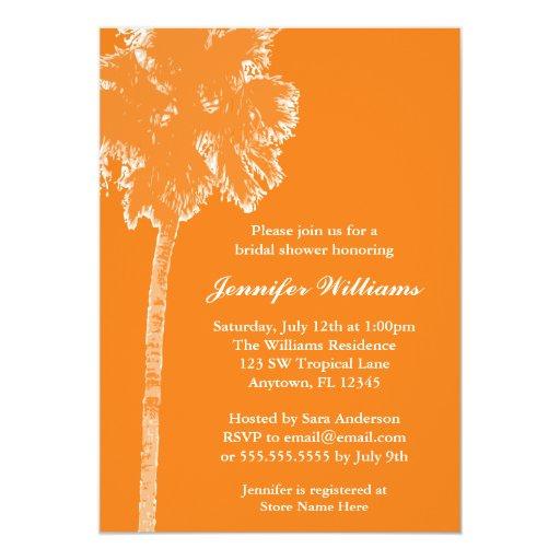 Ducha nupcial anaranjada de la palmera moderna invitación 12,7 x 17,8 cm