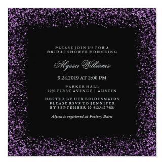 """Ducha nupcial atractiva del confeti púrpura de invitación 5.25"""" x 5.25"""""""