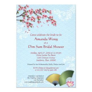 Ducha nupcial azul de Dim Sum de la flor de cerezo Invitacion Personalizada