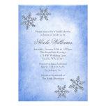 Ducha nupcial azul de los copos de nieve de la invitación